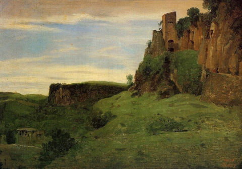 a painting of Civita Castellana by Corot, 1826