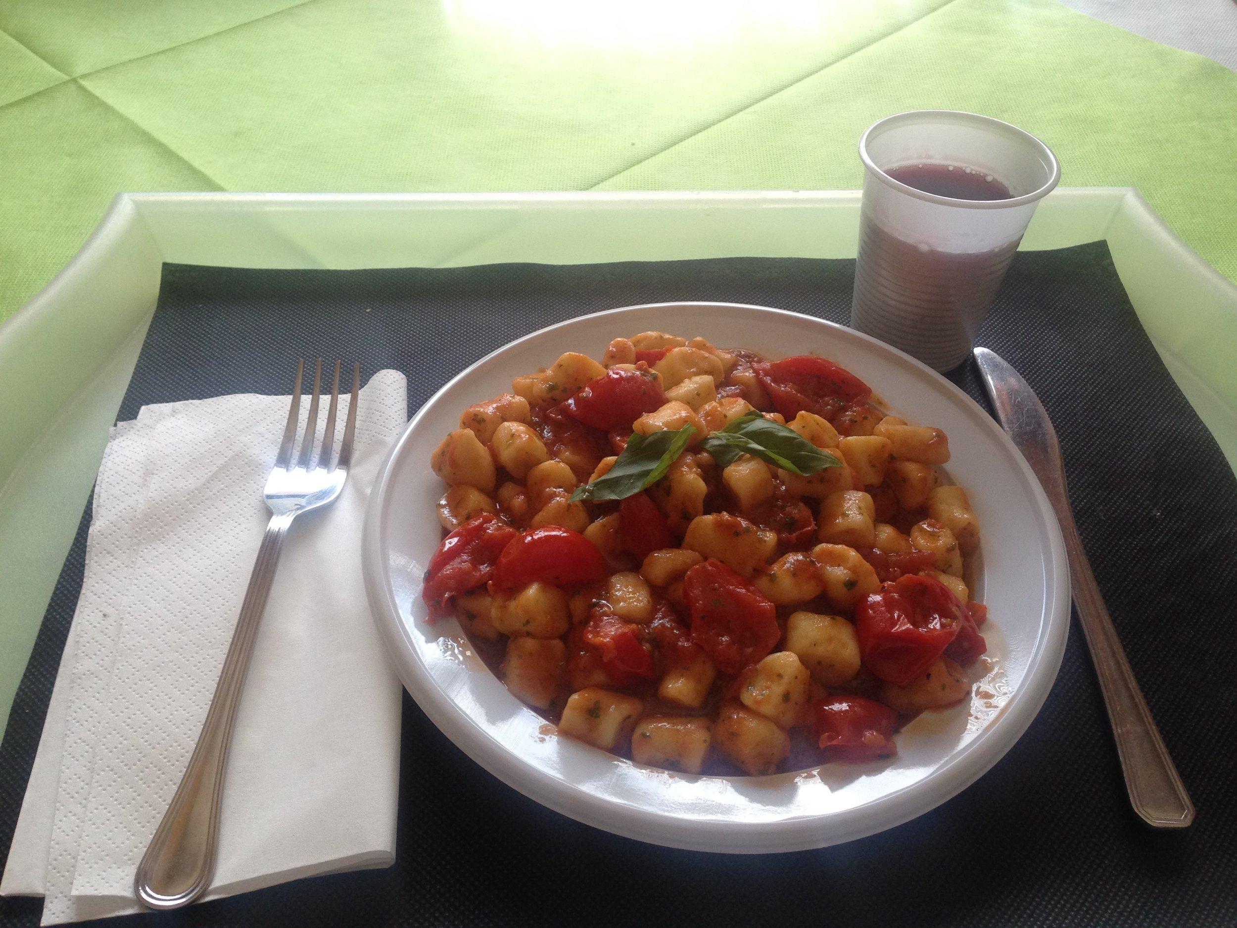 Gnocchi and wine... one of my many divine meals in Civita Castellana!