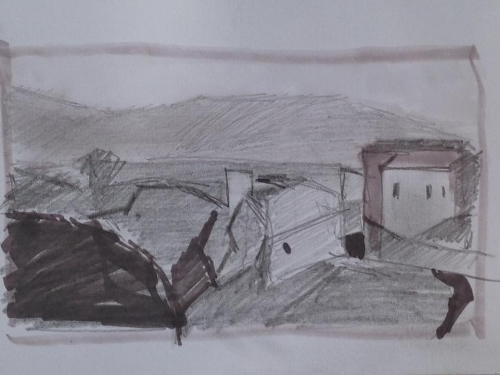 "Sketch for View of Civita, 3x5"" framed $20"