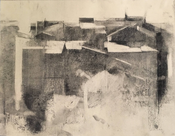 "one of Kristen's drawings: ""Civita Castellana"", charcoal on paper, 9.5""x13"""