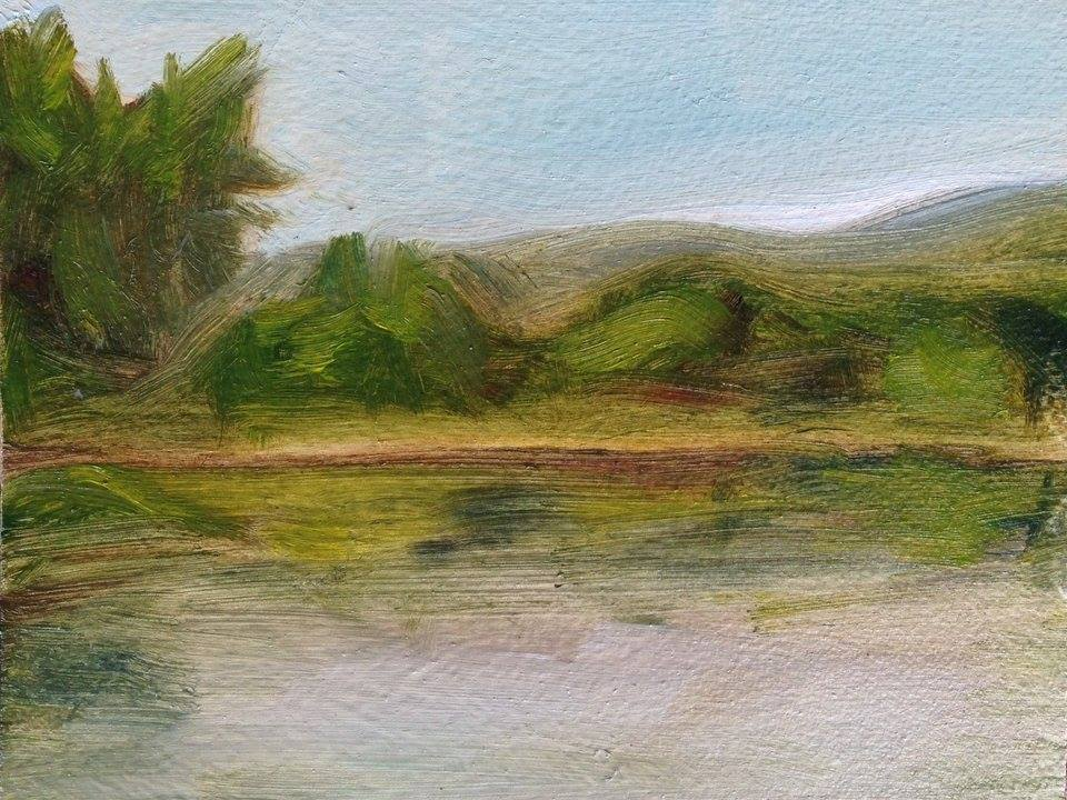 """Here is   my   painting from the show. """"Sketch of the Delaware River"""", 4x5"""" SOLD  Read about my process in this blog post:  Summer Landscapes ."""