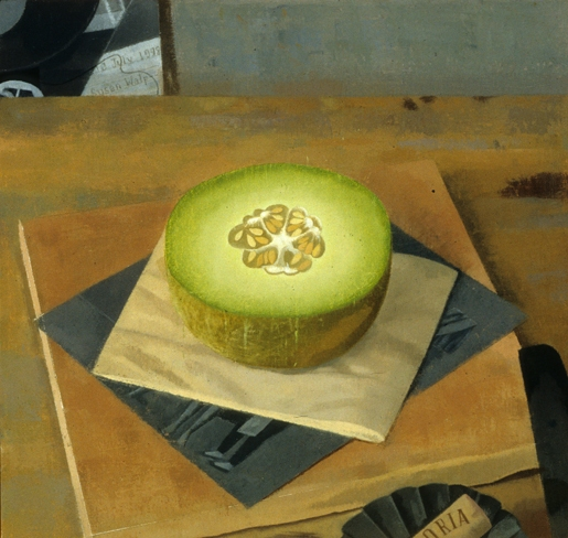 """Melon with Two Xeroxes, Cork and Knife 1999 oil on linen 9x9.5"""""""