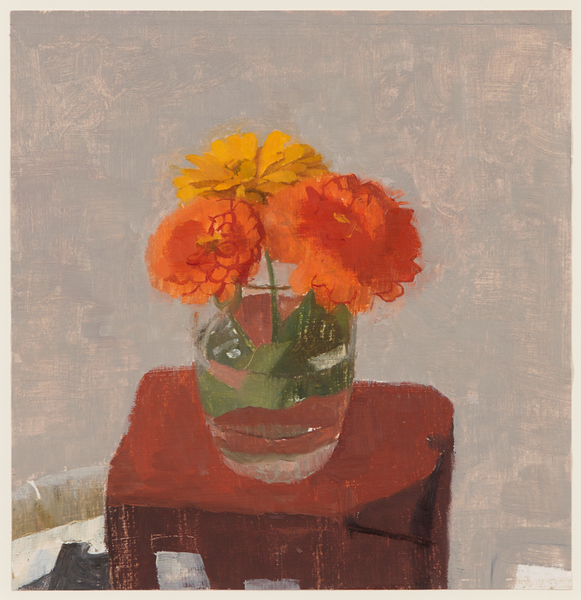 """Three Zinnias in a Glass of Water  oil on gessoed paper_9.75x9.375inches 2012 oil on gessoed paper 9.75 x 9.375"""""""
