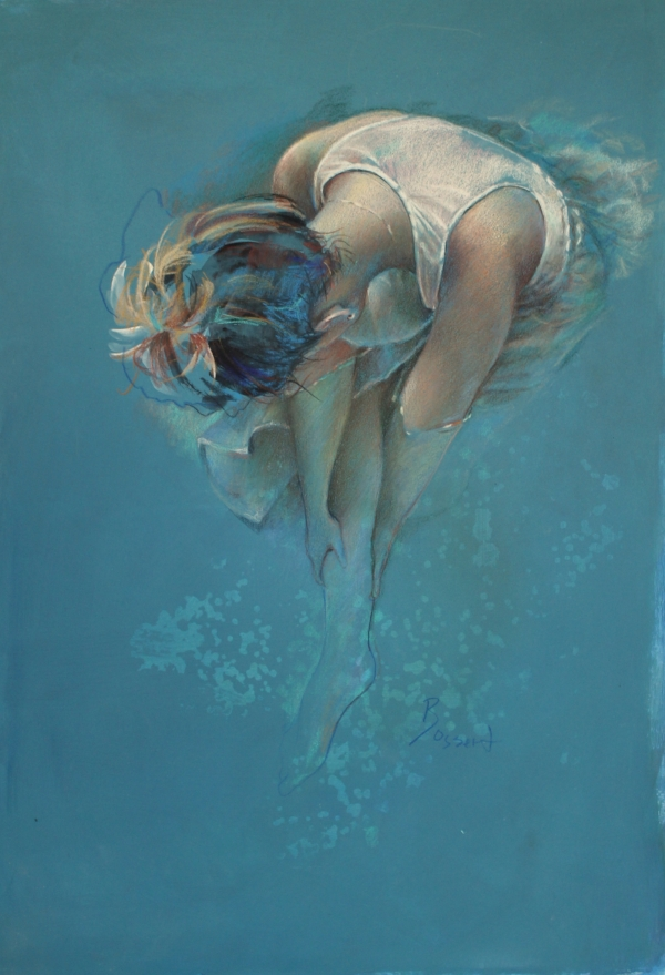"""""""Submerge"""" 28x30"""" mixed media painting on archival paper by Nancy Bossert"""