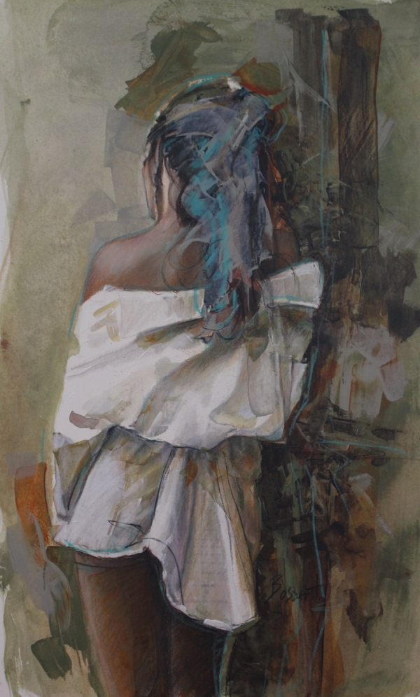 """""""White Robe"""" 19x12"""" mixed media painting on archival paper by Nancy Bossert"""