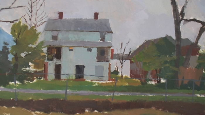 """""""Gray House in New Brookland"""" 11x19"""" oil on board"""