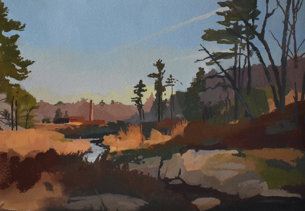 """""""Old Mill Creek After the Flood"""" 5x7"""" gouache on paper"""