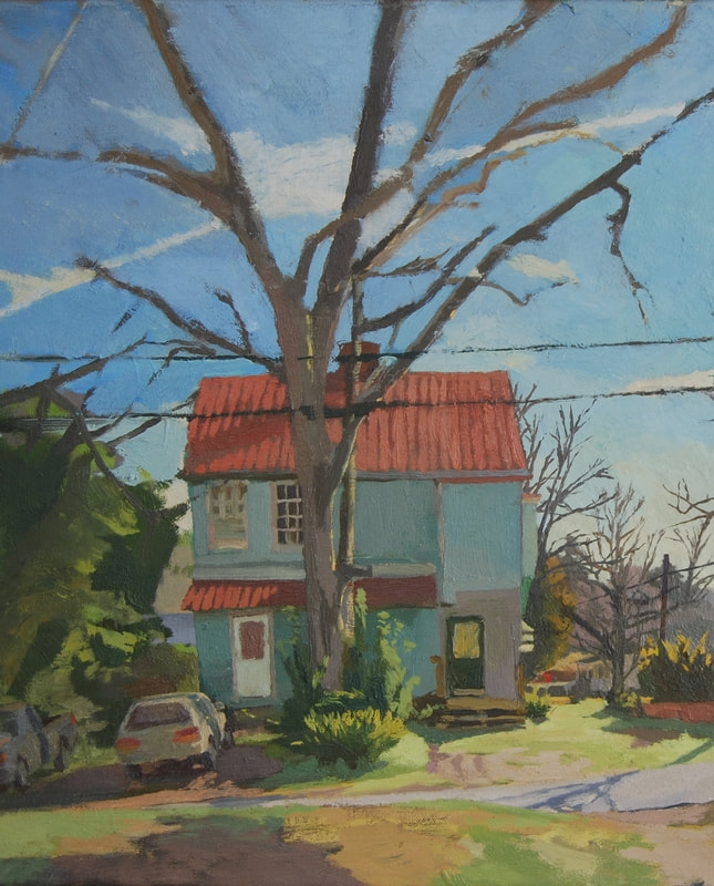 """""""Red Roof in New Brookland"""" 19x14.5"""" oil on canvas"""