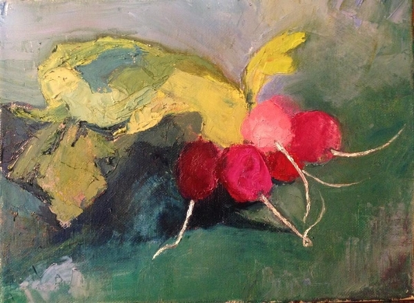 """Radishes  oil on canvas 9x12"""" (this is the painting my cat helped me with!)"""