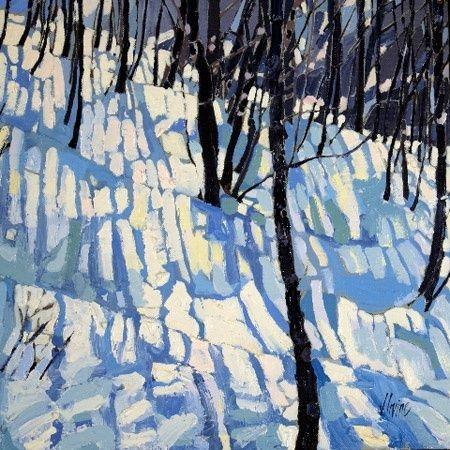 """Winter Shadows"" by  Jennifer Irvine  30x30"" oilpainting"