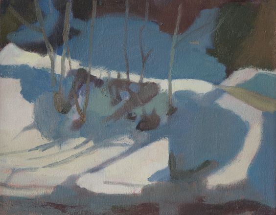 """""""Snow Bank"""" oil on canvas, 11x14"""" by  Kristen Peyton  (my  roommate from Italy !)"""
