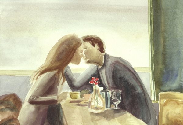 """""""The Kiss"""" watercolor on paper 5x7""""   The inspiration for this watercolor came from an advertisement photograph in a magazine. I wish I could remember where, so I could give it credit."""