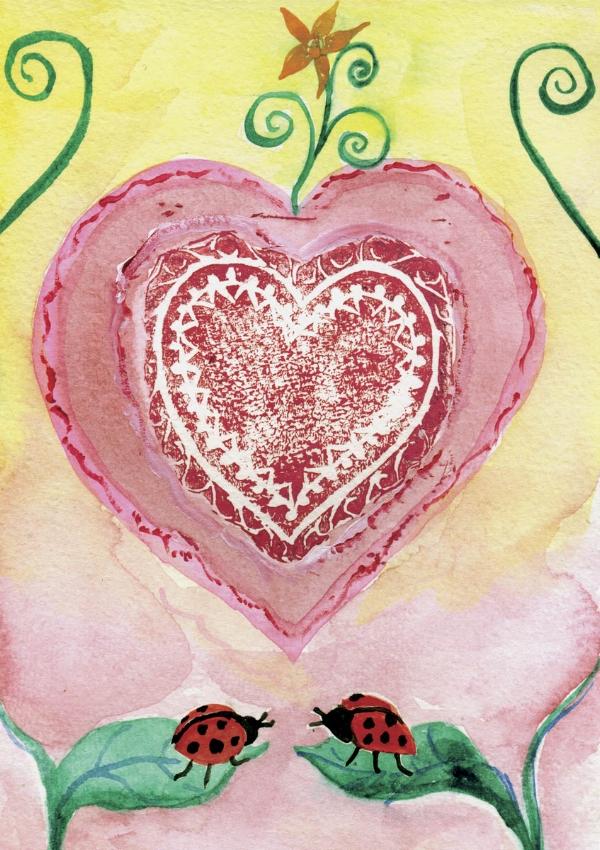 """""""Ladybug Love"""" watercolor and acrylic, 5x7"""""""