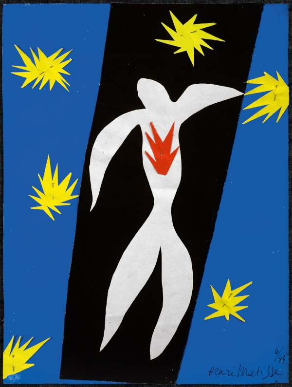 """""""The Fall of Icarus"""" a paper cutout by Matisse"""
