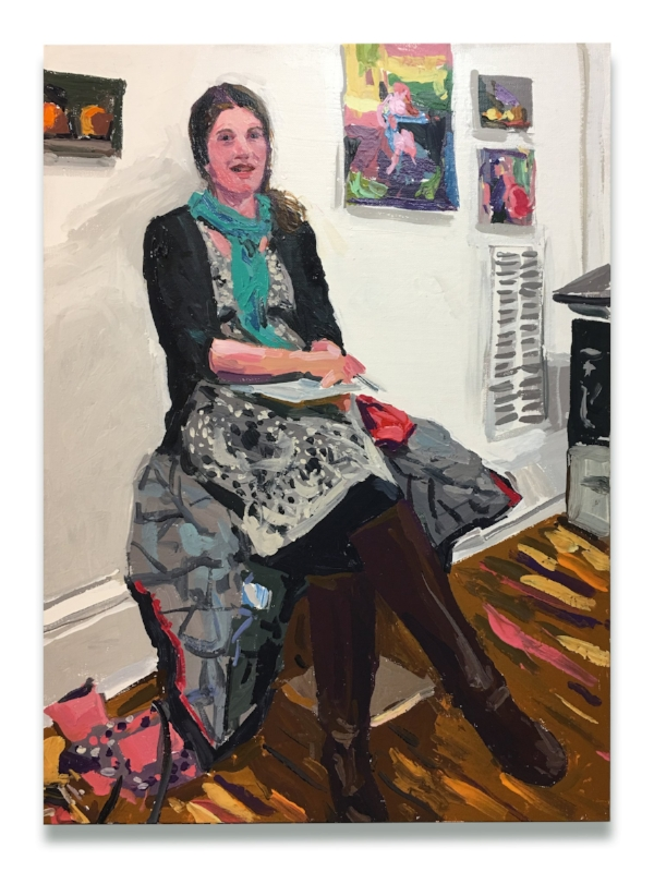 Here is a portrait of me!  Wil l painted this after our interview together. It was such a delightful surprise to see myself through his eyes, sitting in my studio with my paintings hanging on the wall behind me!