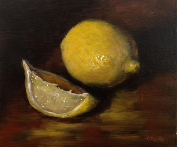 """""""Peg's Lemons"""" oil on board, 4x5"""""""