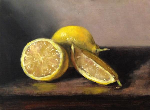 """""""Juicy Lemons"""" 6x8"""" oil on linen mounted on board, 2018"""