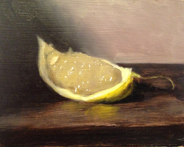 """Lemon Wedge"" 4x5"" oil on board, 2018"