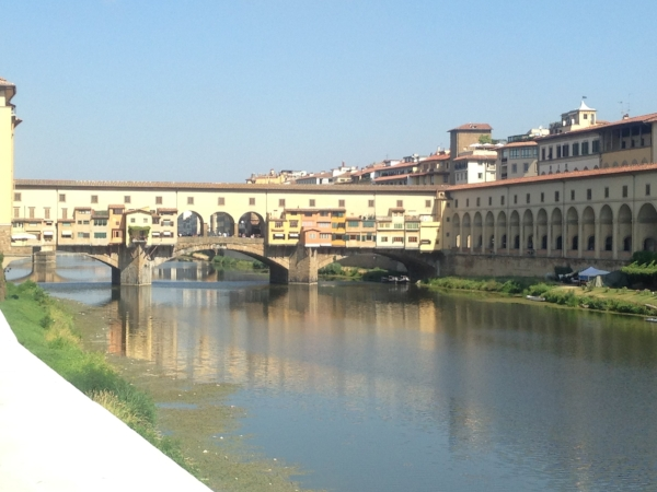 Ponte Vecchio , the famous bridge over the Arno River: one of my first sights when I got off the bus in Florence!