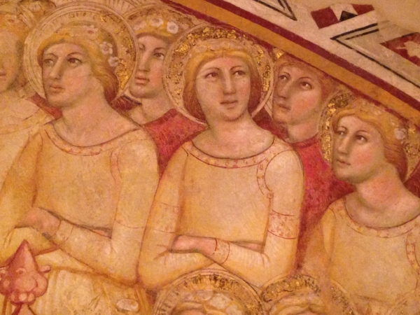 This fresco was in the Palazzo, but it's not a Piero. Nevertheless, I really liked it. I could really relate to this one angel who wasn't paying attention. Instead, she finds herself daydreaming... I wonder what is on her mind?