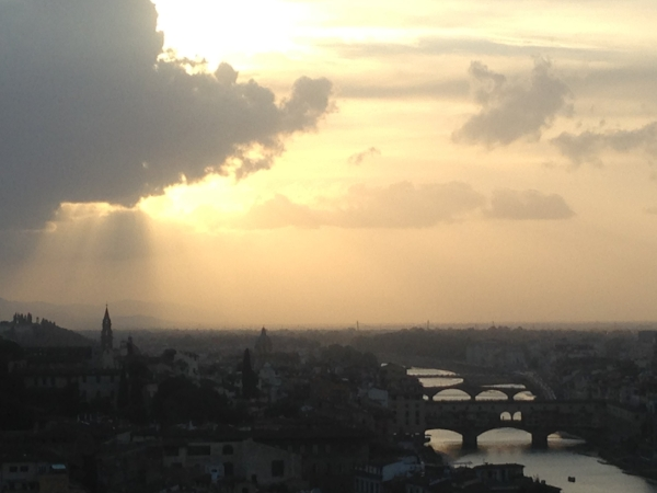 View of the Arno River from the Piazzale Michelangelo, my first sunset in Florence.