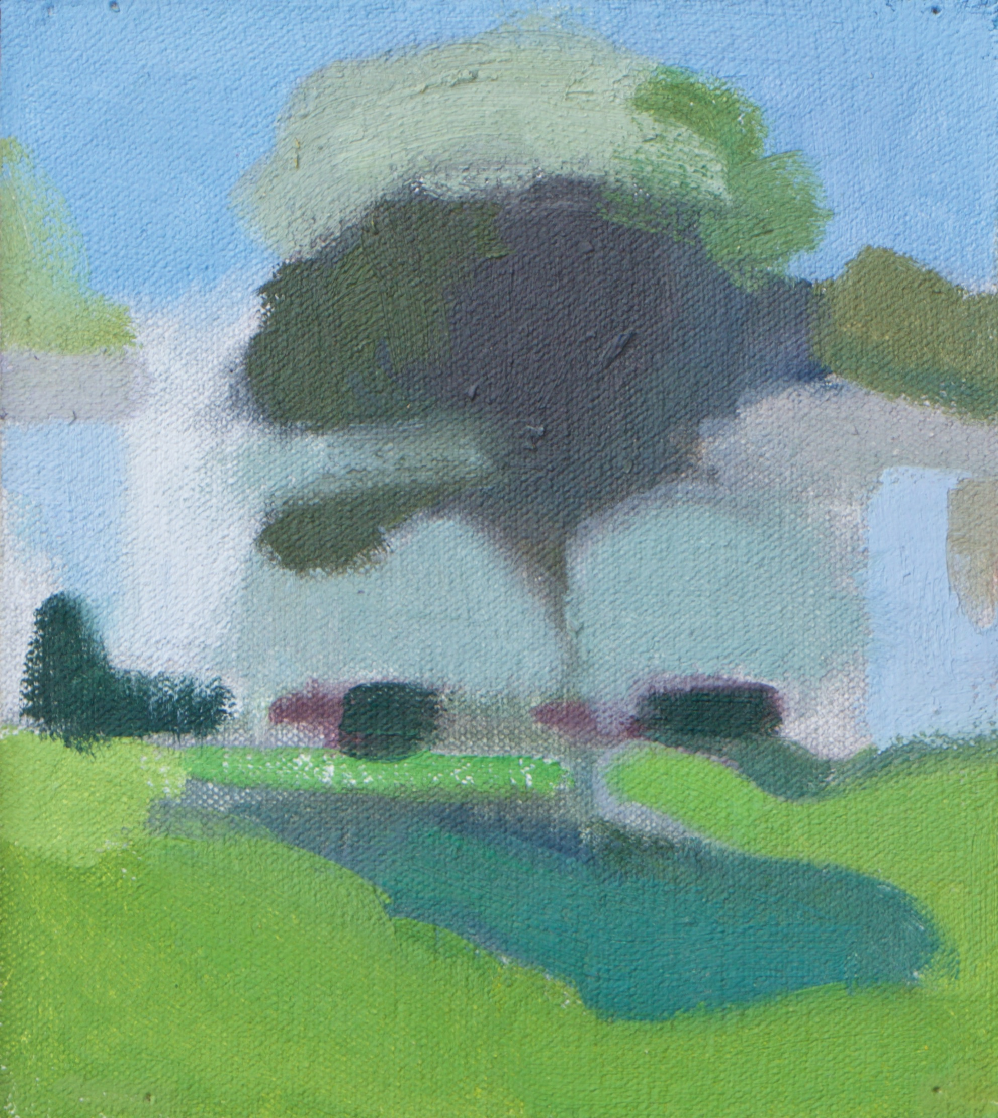 """Green Tree"" oil on canvas, 2016, 6.25x5.5"""