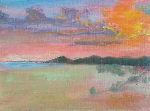 """""""Beach Sunset""""  6x8"""" oil on linen mounted on board"""