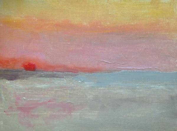 """Beach Sunrise""  oil on linen mounted on board, 6x8"""