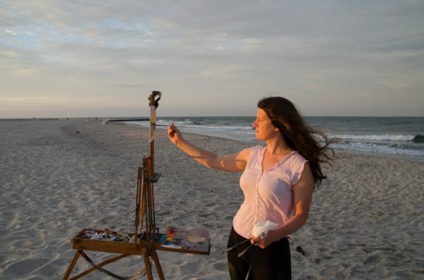 me painting at sunrise, photo credit Ian Kindle