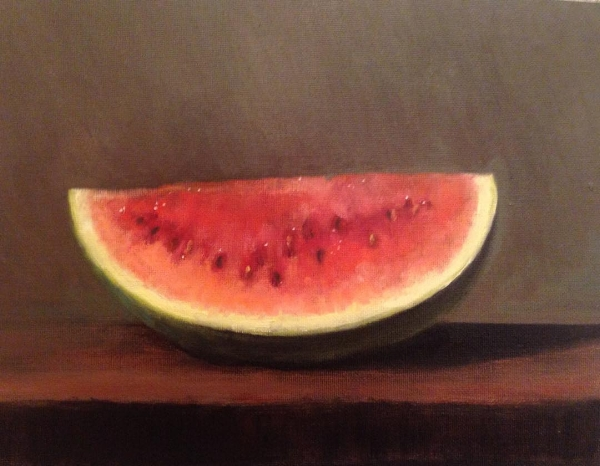 Watermelon  oil on linen mounted on board  9x12 inches