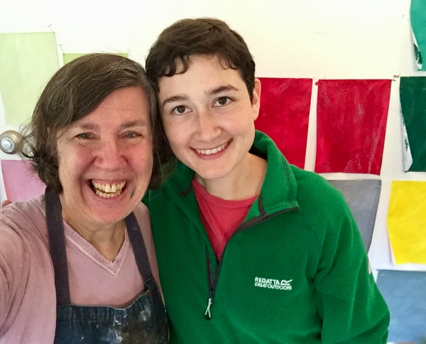 My Mom and the workshop leader, artist Rotem Amizur! (Thanks, Rotem, for making my Mom smile!!)