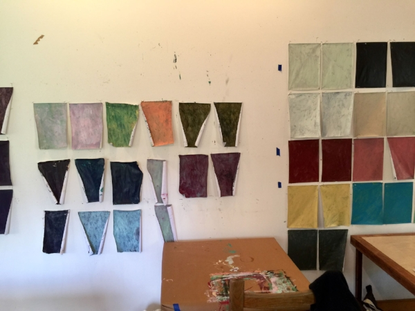 My painted paper (on the left), from the Rotem Amizur workshop.