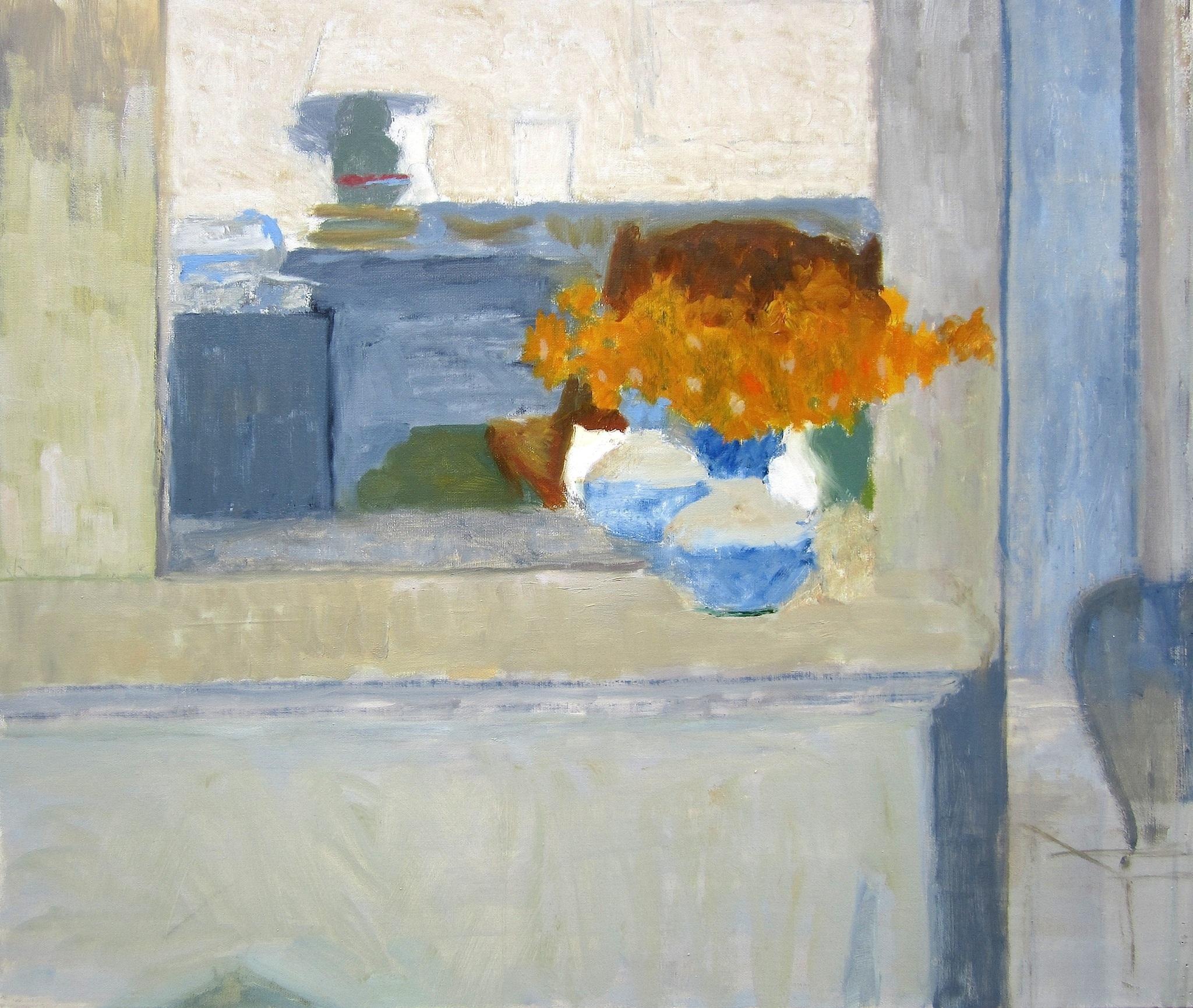 "Ellen Sapienza ""Flowers on the Mantle"" Oil on Canvas 26″x30″ SOLD"