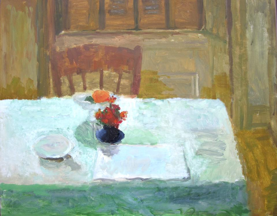 """Interior, Green Table"" oil on canvas by Ellen Sapienza. 24""x30"" $650"
