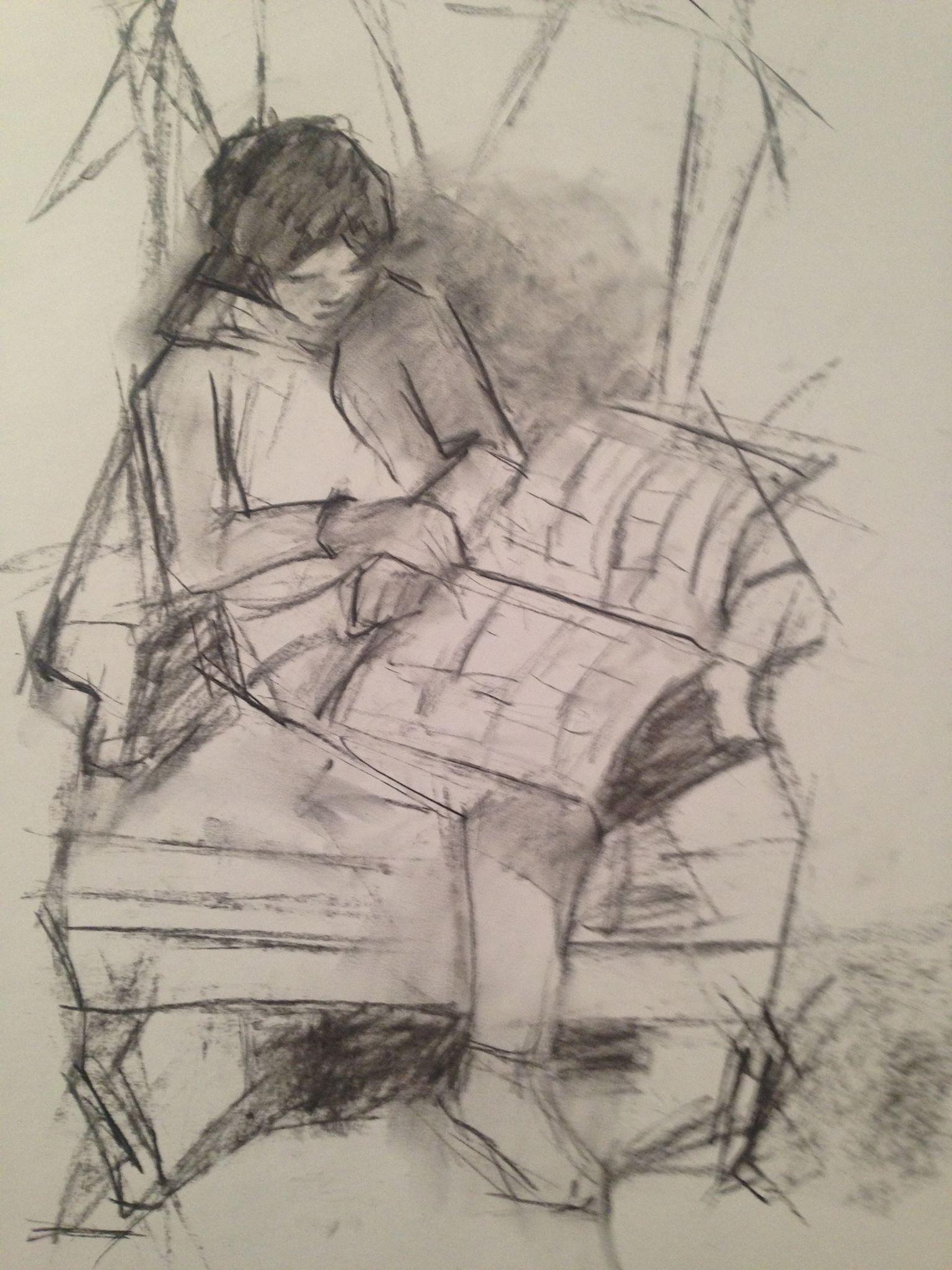 Morgan reading comic books.  charcoal, 18x24 inches