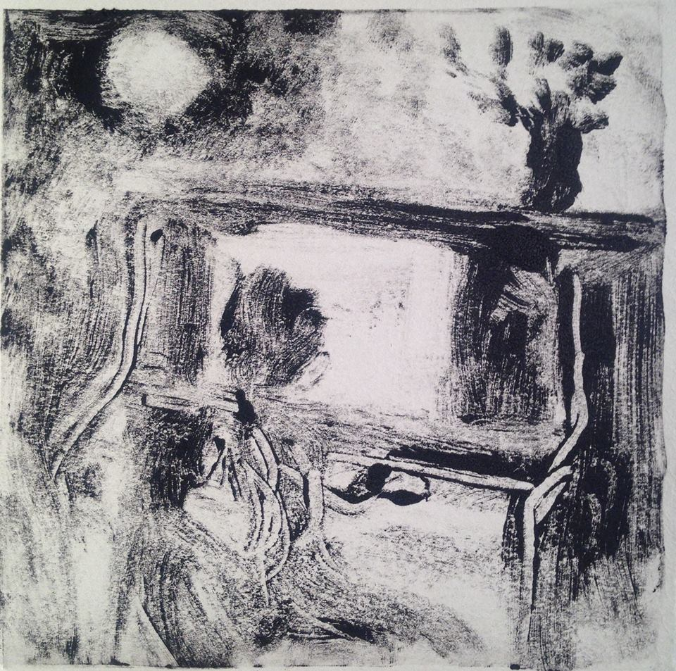 """A Childhood Memory (6)"" monotype, 5x5 inches"