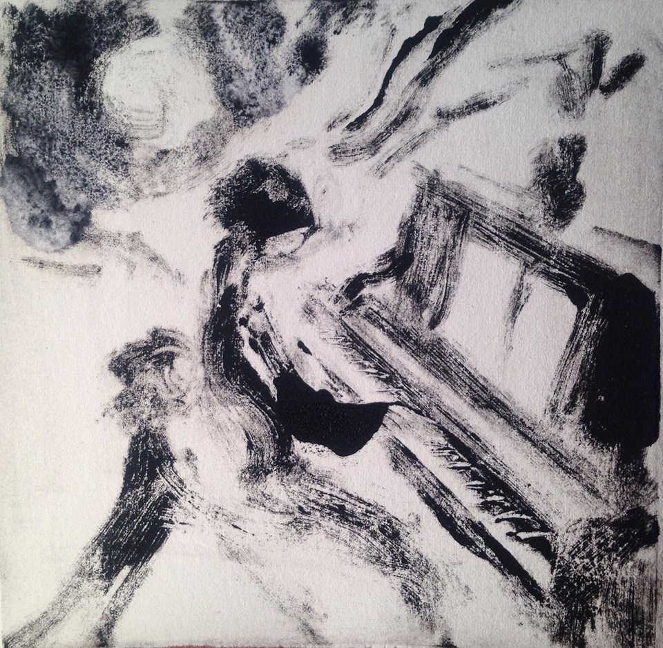 """A Childhood Memory (1)"" monotype, 5x5 inches  *"