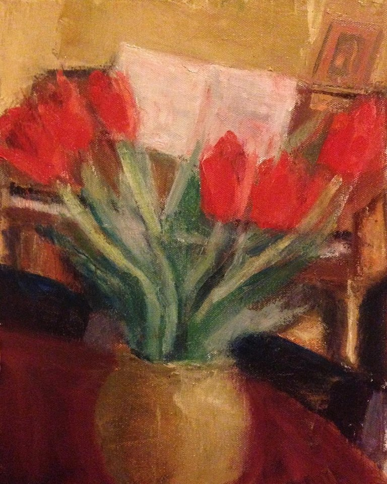 """Red Tulips""    oil on canvas, 14x11 inches"