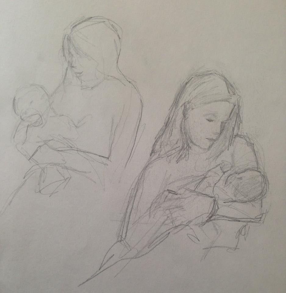 """Mother and infant"" pencil sketches"