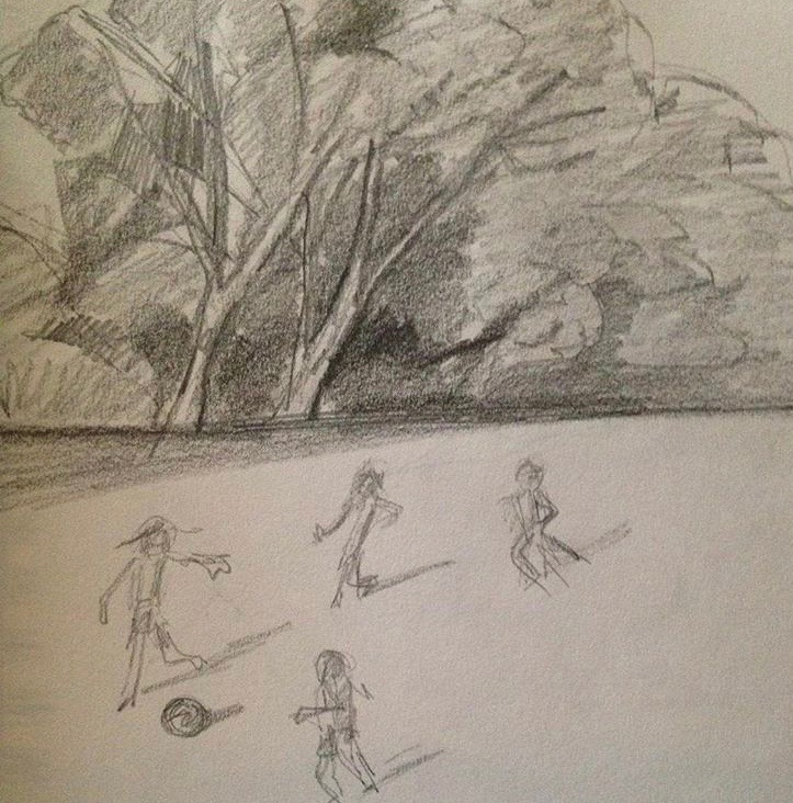 children playing soccer (sketchbook)