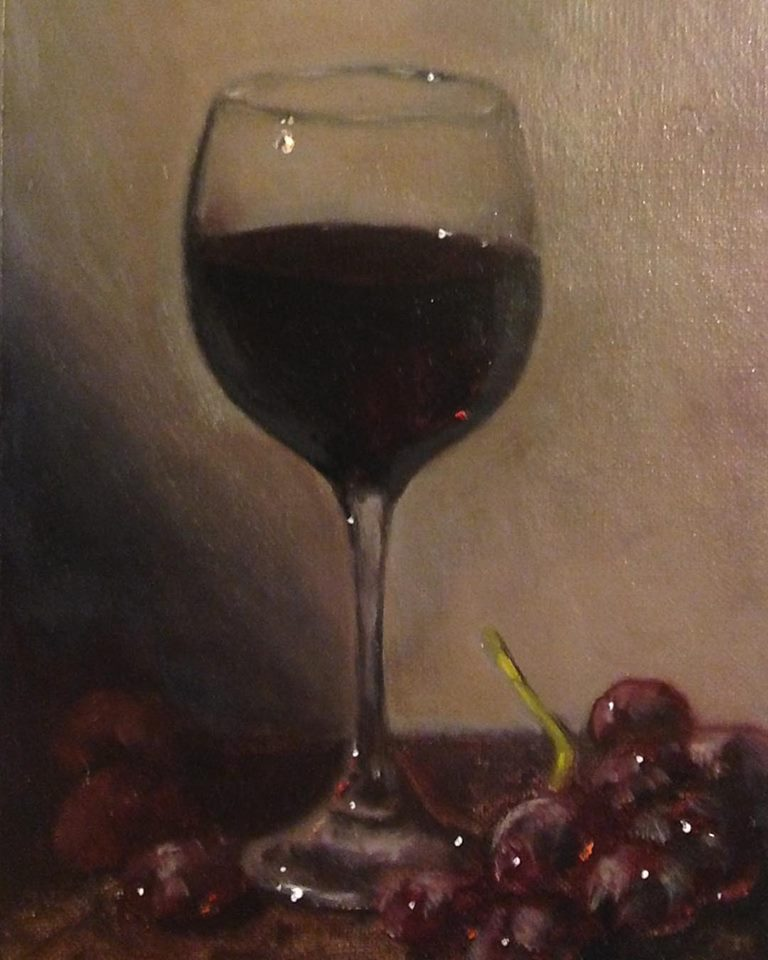 """Vino Rosso"" 7x5 inches, oil on board"