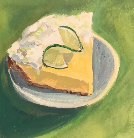 """Key Lime Pie"" gouache on paper, 5x5 inches"