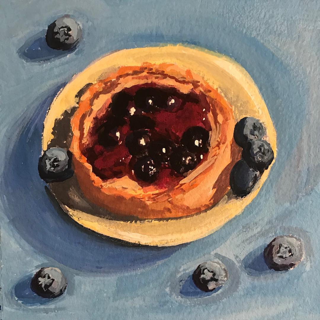 """Peanut Butter and Jelly Tart"" gouache on paper, 5x5 inches"