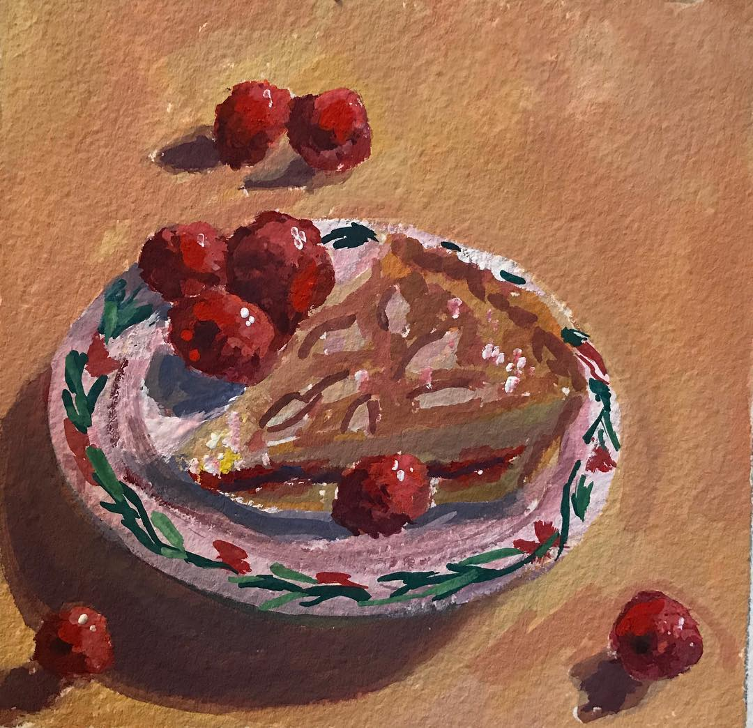 """Raspberry Tart"" gouache on paper, 5x5 inches"