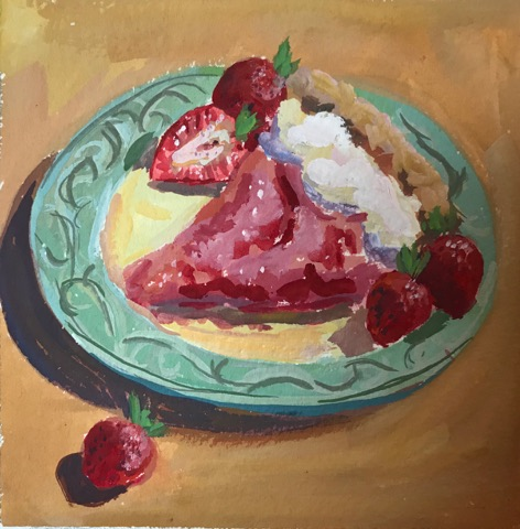 """Strawberry Pie"" gouache on paper, 5x5 inches"