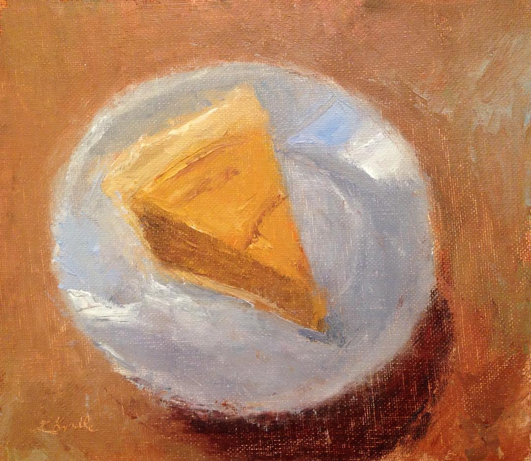 """Sweet Potato Pie"" oil on canvas mounted on board, 7.5x8.5 inches    (This pie was baked by my 12 year old daughter, Nell)"