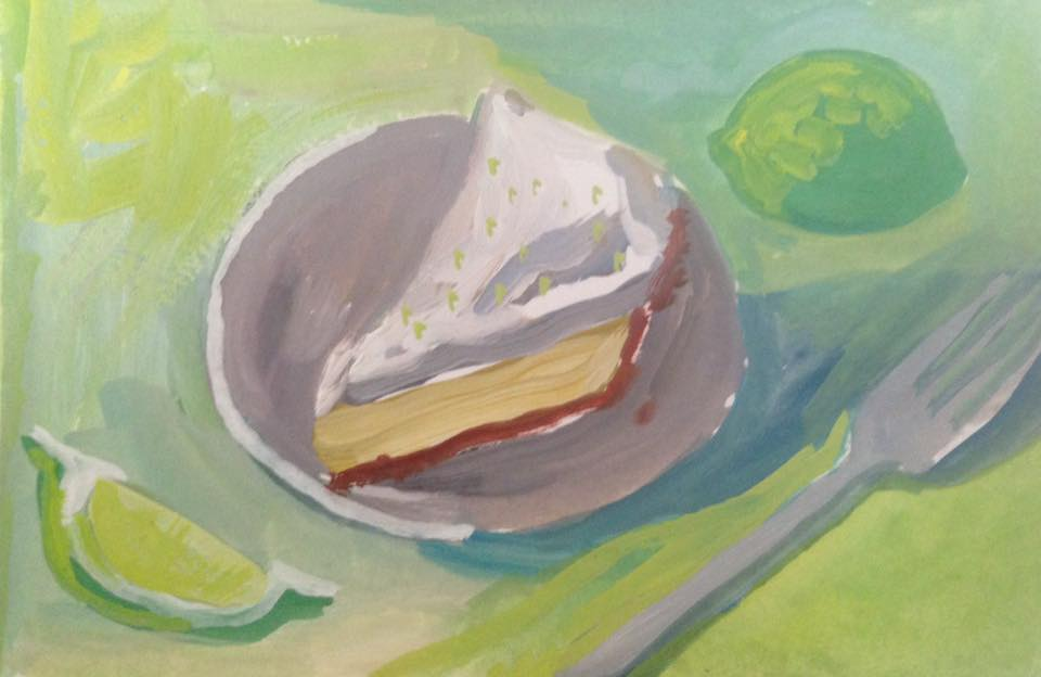 """Key Lime Pie"" gouache on paper, 4x6 inches, not for sale"