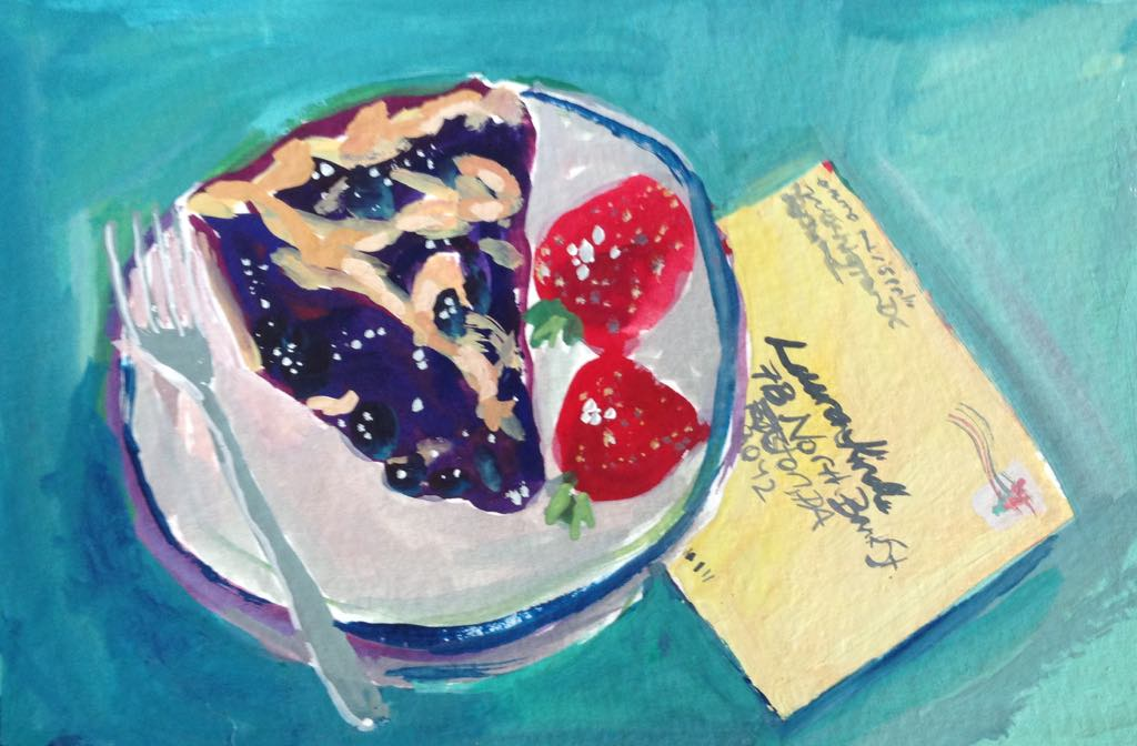 """Blueberry Pie"" gouache on paper, 4x6 inches, not for sale"