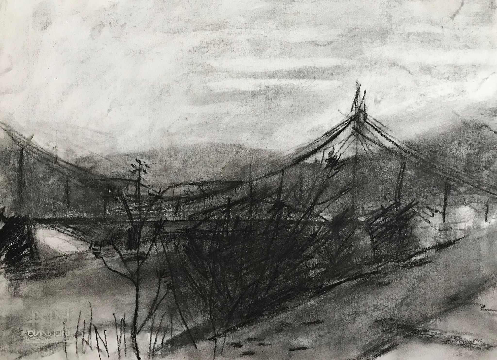 View from Riverside Park , charcoal on paper, 9.5x13.25 inches