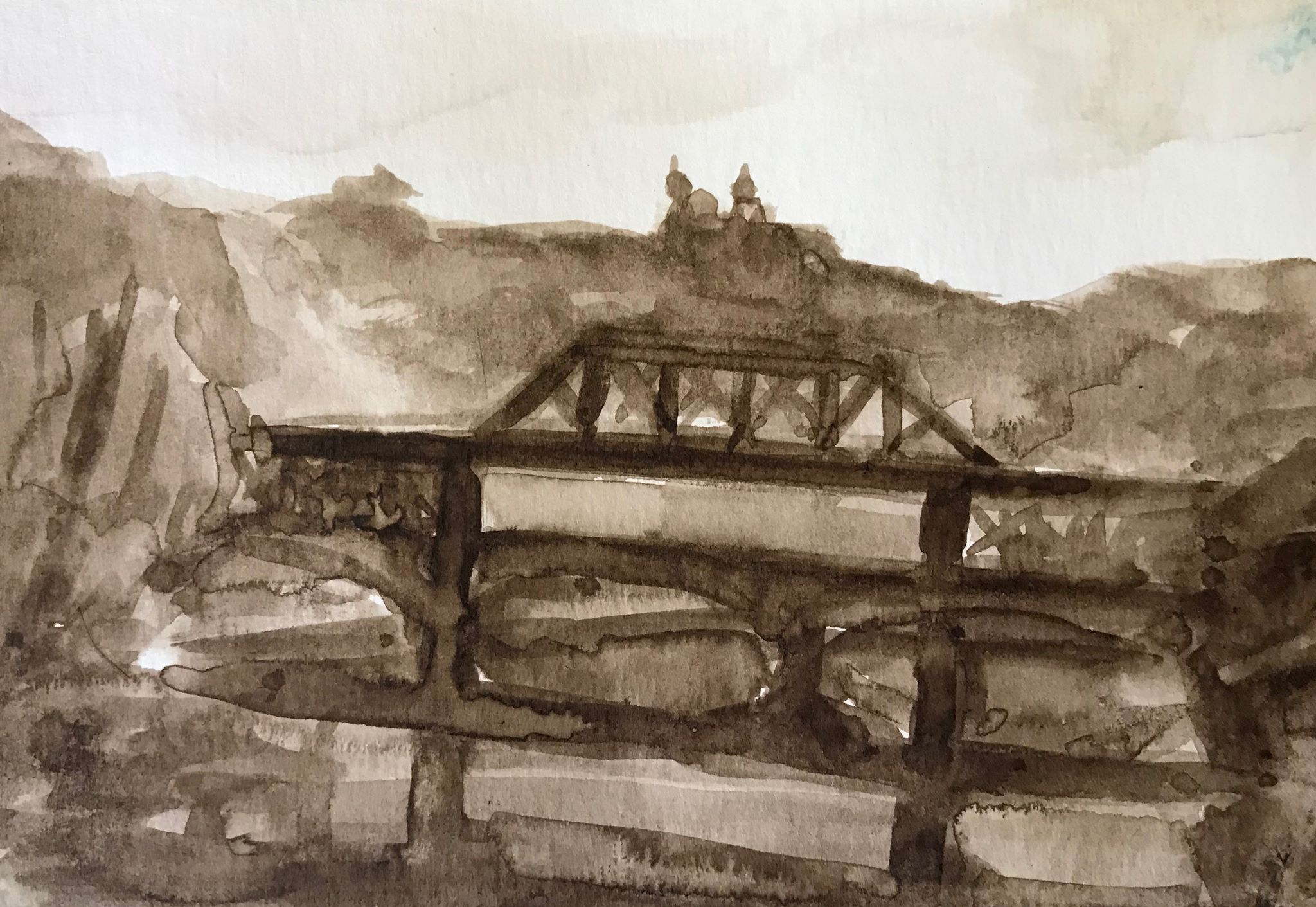 Bridge over the Lehigh (1),  walnut ink on paper, 4x6 inches